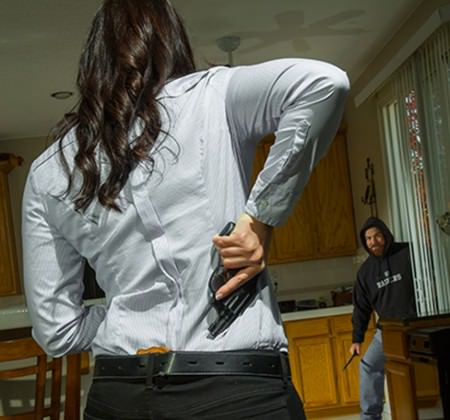 Revolver Woman Self Defense Home Invasion