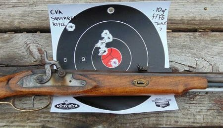 CVA Squirrel Rifle Muzzleoader in .32 Caliber at 25 yards results